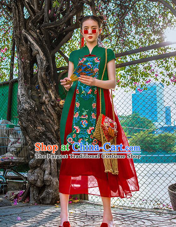 Chinese Traditional Embroidered Bats Green Qipao Dress National Tang Suit Cheongsam Costumes for Women