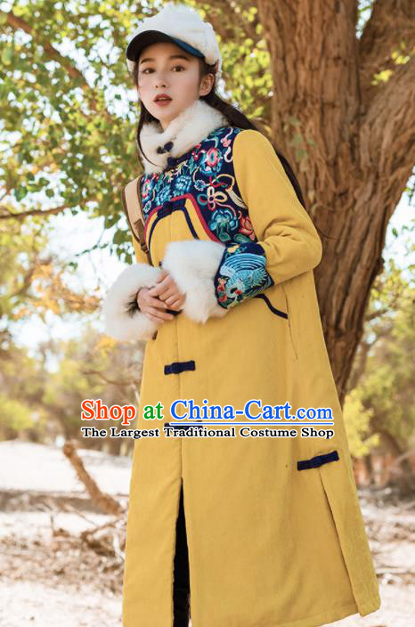 Chinese Traditional Winter Embroidered Yellow Cotton Padded Coat National Tang Suit Overcoat Costumes for Women