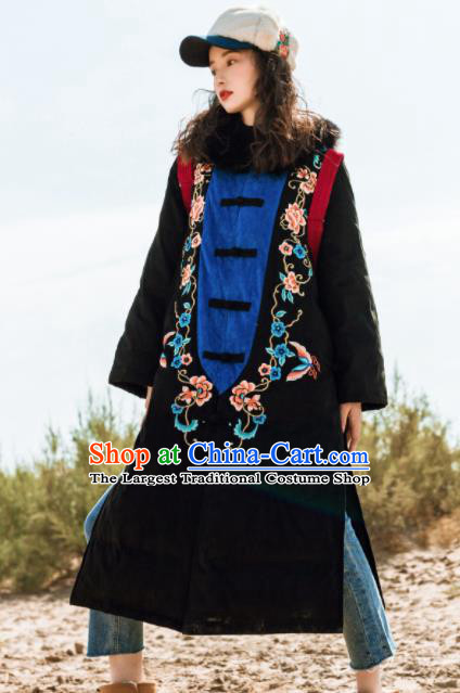 Chinese Traditional Winter Embroidered Black Cotton Padded Coat National Tang Suit Overcoat Costumes for Women