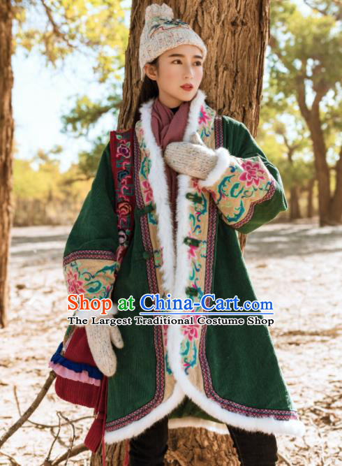 Chinese Traditional Winter Embroidered Green Cotton Padded Coat National Tang Suit Overcoat Costumes for Women