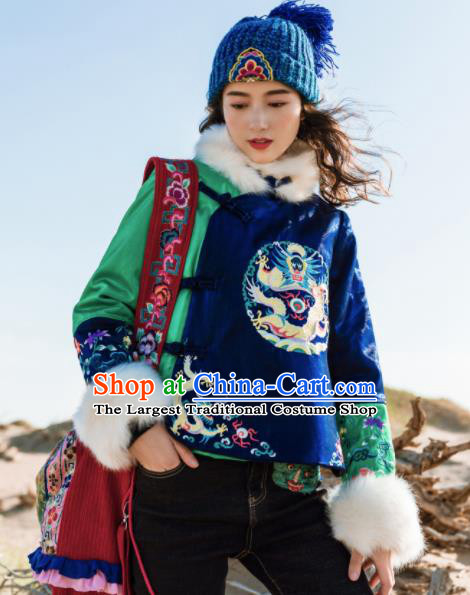 Chinese Traditional Winter Embroidered Blue Cotton Padded Jacket National Tang Suit Overcoat Costumes for Women