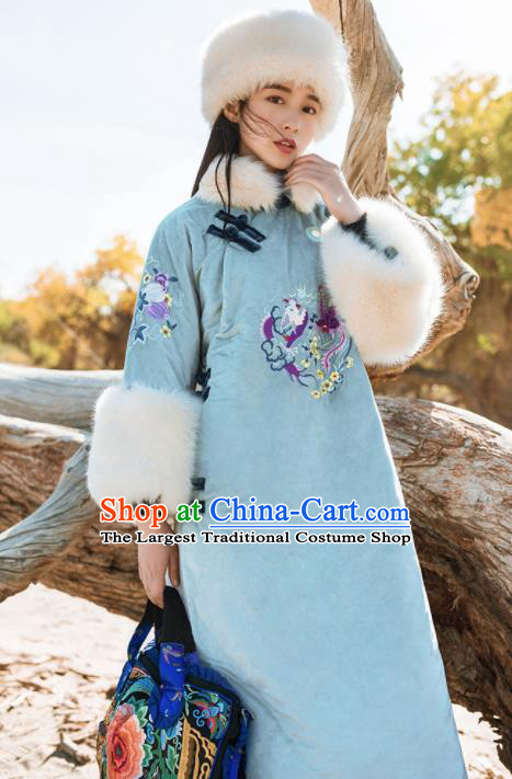 Chinese Traditional Winter Embroidered Blue Cotton Padded Dust Coat National Tang Suit Overcoat Costumes for Women