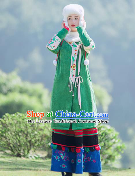 Chinese Traditional Winter Embroidered Green Corduroy Cotton Padded Coat National Tang Suit Overcoat Costumes for Women