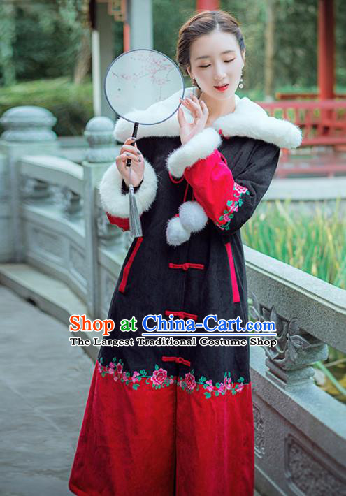 Chinese Traditional Winter Embroidered Hooded Cotton Padded Coat National Tang Suit Overcoat Costumes for Women
