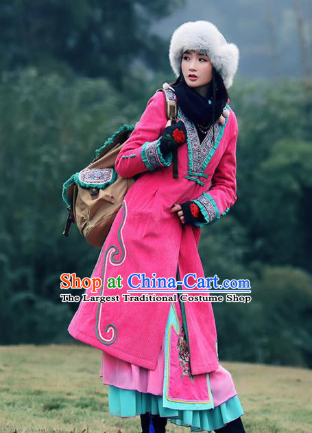 Chinese Traditional Winter Embroidered Rosy Cotton Padded Coat National Tang Suit Overcoat Costumes for Women
