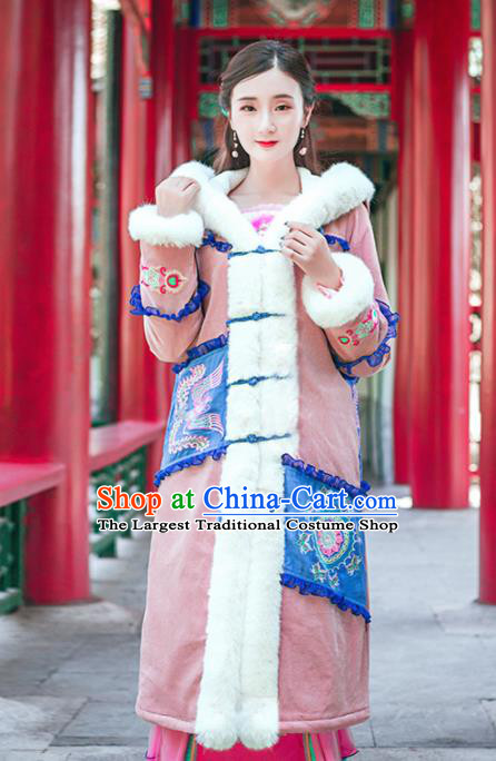Chinese Traditional Winter Embroidered Hooded Pink Cotton Padded Coat National Tang Suit Overcoat Costumes for Women