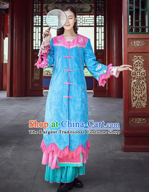 Chinese Traditional Winter Embroidered Blue Cotton Padded Coat National Tang Suit Overcoat Costumes for Women