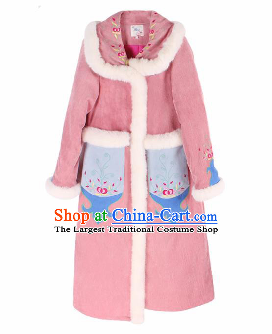 Chinese Traditional Winter Embroidered Pink Cotton Padded Coat National Tang Suit Overcoat Costumes for Women