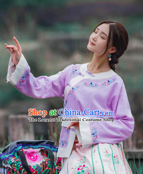 Chinese Traditional Embroidered Lilac Shirt National Upper Outer Garment Tang Suit Costume for Women