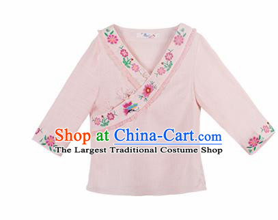 Chinese Traditional Embroidered Light Pink Shirt National Upper Outer Garment Tang Suit Costume for Women