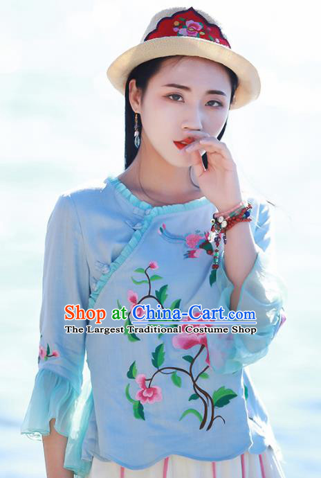 Chinese Traditional Embroidered Peony Blue Shirt National Upper Outer Garment Tang Suit Costume for Women