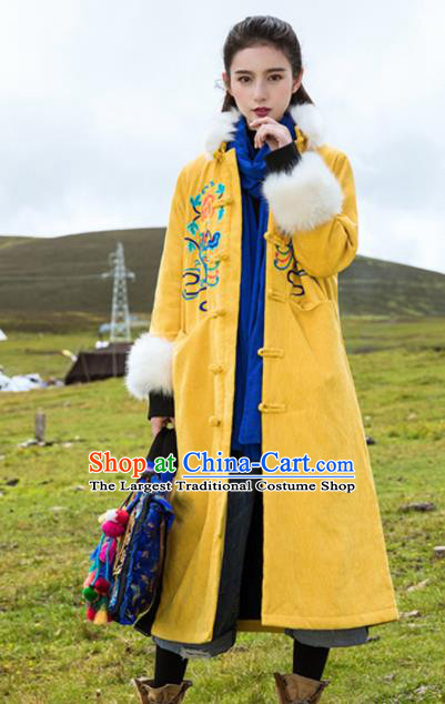 Chinese Traditional Winter Embroidered Yellow Cotton Padded Dust Coat National Tang Suit Overcoat Costumes for Women