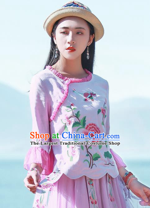 Chinese Traditional Embroidered Peony Pink Shirt National Upper Outer Garment Tang Suit Costume for Women