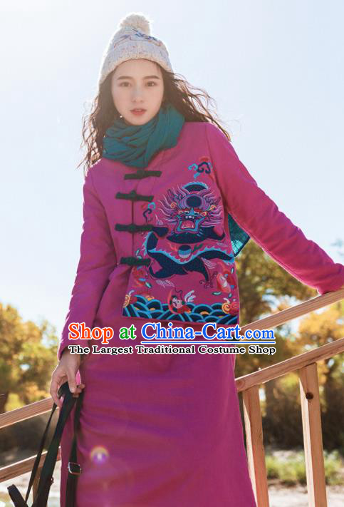 Chinese Traditional Winter Embroidered Rosy Cotton Padded Dust Coat National Tang Suit Overcoat Costumes for Women