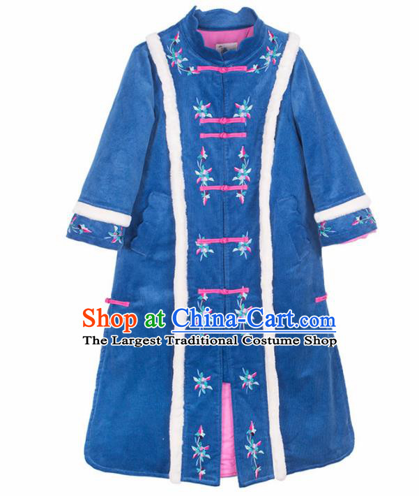 Chinese Traditional Winter Embroidered Blue Corduroy Cotton Padded Coat National Tang Suit Overcoat Costumes for Women