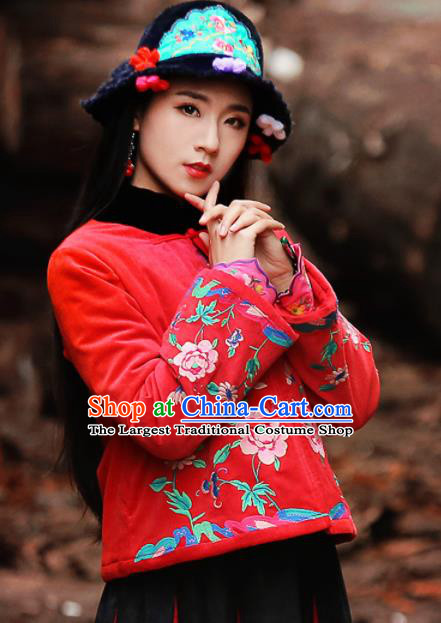 Chinese Traditional Winter Embroidered Red Cotton Padded Jacket National Tang Suit Overcoat Costumes for Women