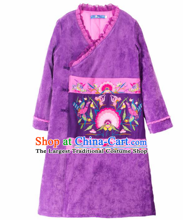 Chinese Traditional Winter Embroidered Purple Cotton Padded Coat National Tang Suit Overcoat Costumes for Women