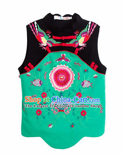 Chinese Traditional Embroidered Green Waistcoat National Upper Outer Garment Tang Suit Costume for Women