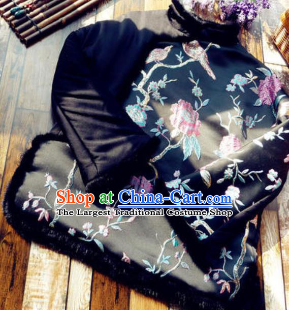 Chinese Traditional Winter Embroidered Black Jacket National Tang Suit Overcoat Costumes for Women