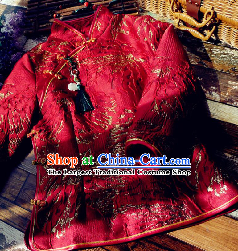 Chinese Traditional Winter Embroidered Red Jacket National Tang Suit Overcoat Costumes for Women