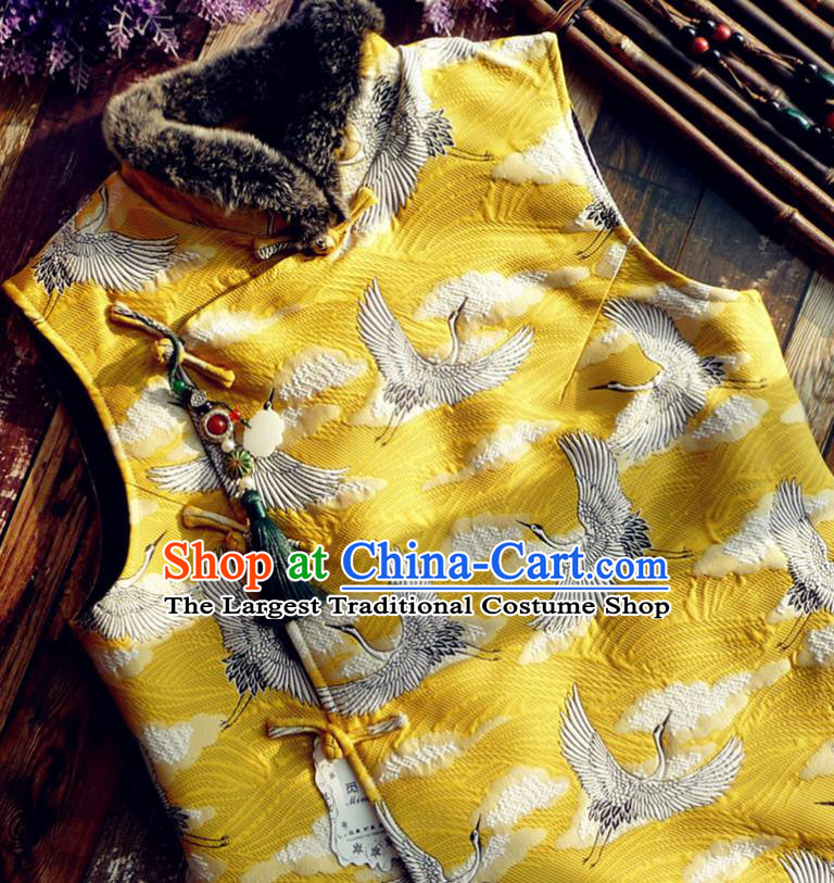 Chinese Traditional Embroidered Crane Yellow Waistcoat National Upper Outer Garment Tang Suit Vest Costume for Women