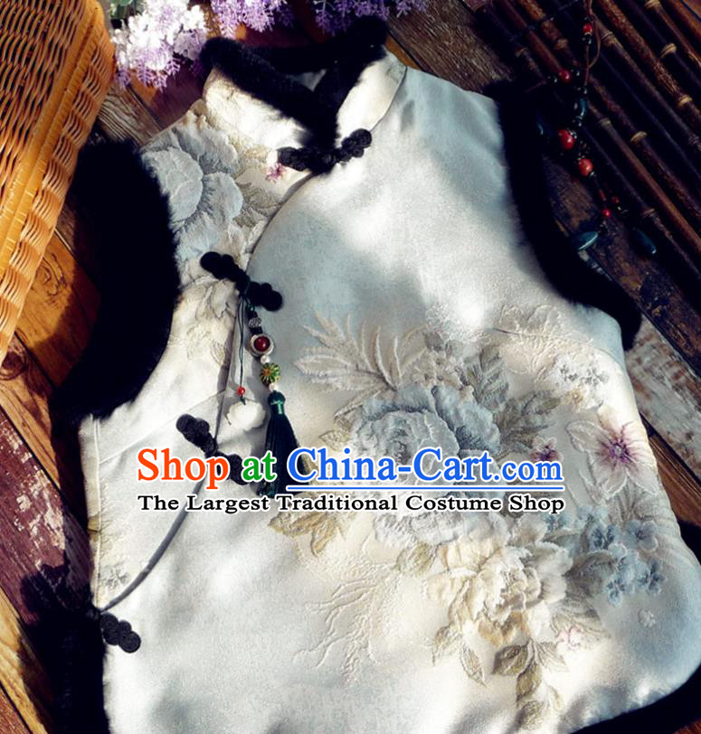 Chinese Traditional Embroidered White Waistcoat National Upper Outer Garment Tang Suit Vest Costume for Women