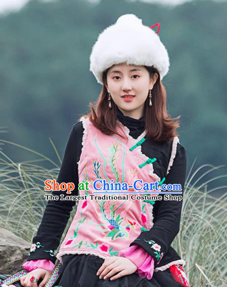 Chinese Traditional Embroidered Phoenix Pink Vest National Upper Outer Garment Tang Suit Costume for Women