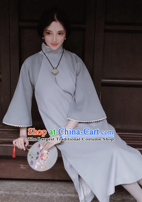 Chinese Traditional Grey Woolen Qipao Dress National Tang Suit Cheongsam Costumes for Women