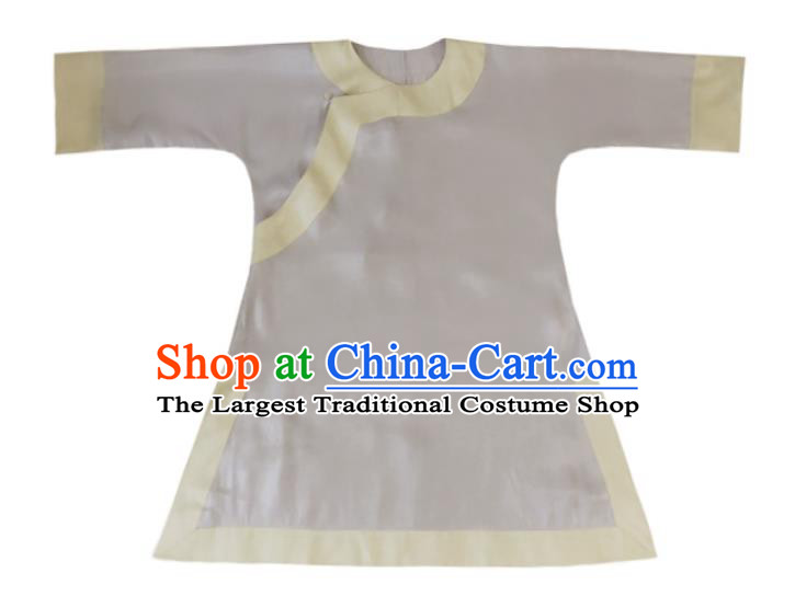 Chinese Traditional Lilac Silk Shirt National Upper Outer Garment Tang Suit Blouse Costume for Women