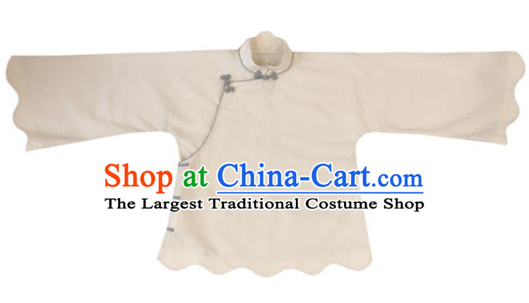 Chinese Traditional Tang Suit White Shirt National Upper Outer Garment Blouse Costume for Women