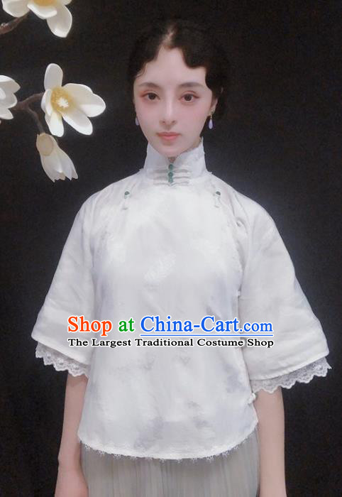 Chinese Traditional Tang Suit White Lace Shirt National Upper Outer Garment Blouse Costume for Women