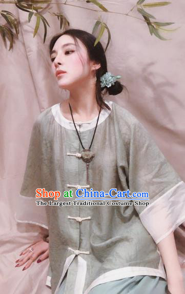 Chinese Traditional Tang Suit Light Green Shirt National Upper Outer Garment Blouse Costume for Women