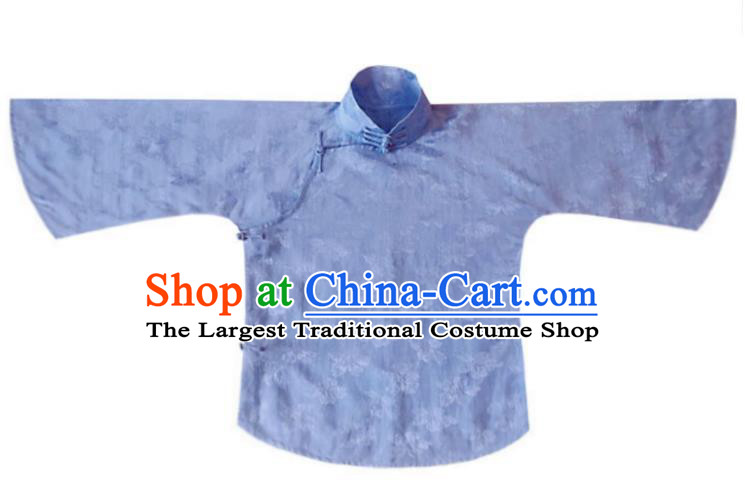 Chinese Traditional Tang Suit Blue Stand Collar Shirt National Upper Outer Garment Blouse Costume for Women