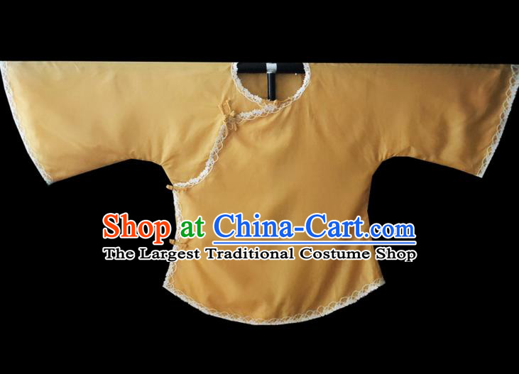 Chinese Traditional Apricot Shirt National Tang Suit Upper Outer Garment Blouse Costume for Women