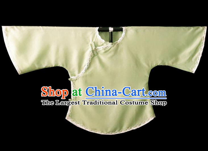 Chinese Traditional Light Green Shirt National Tang Suit Upper Outer Garment Blouse Costume for Women