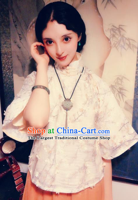 Chinese Traditional Embroidered Shirt National Tang Suit Upper Outer Garment Blouse Costume for Women