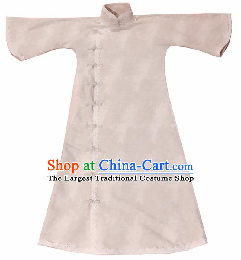 Chinese Traditional Beige Flax Qipao Dress National Tang Suit Cheongsam Costumes for Women