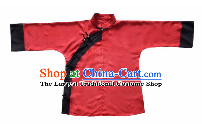 Chinese Traditional Qing Dynasty Red Shirt National Tang Suit Upper Outer Garment Blouse Costume for Women