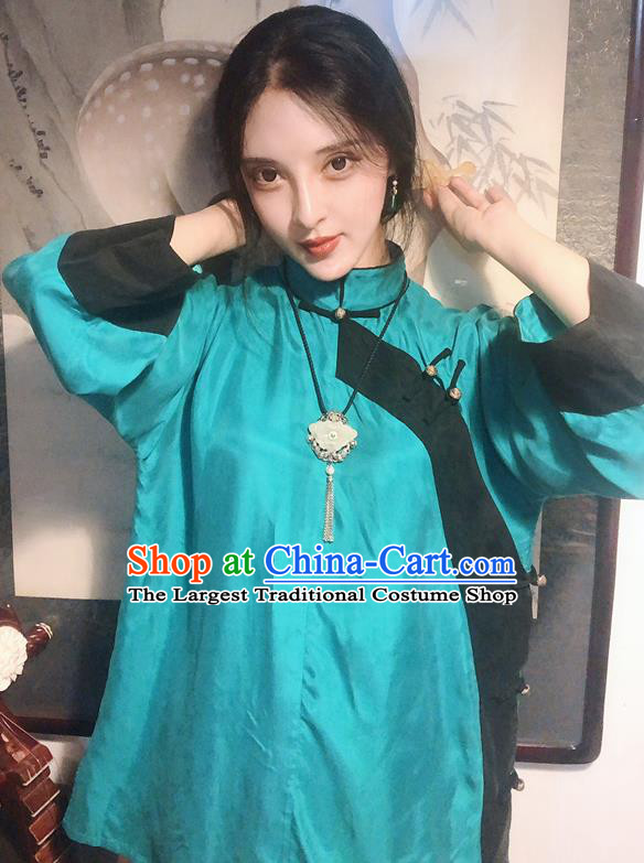 Chinese Traditional Qing Dynasty Green Shirt National Tang Suit Upper Outer Garment Blouse Costume for Women