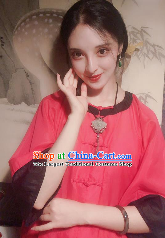 Chinese Traditional Red Mandarin Shirt National Tang Suit Upper Outer Garment Blouse Costume for Women