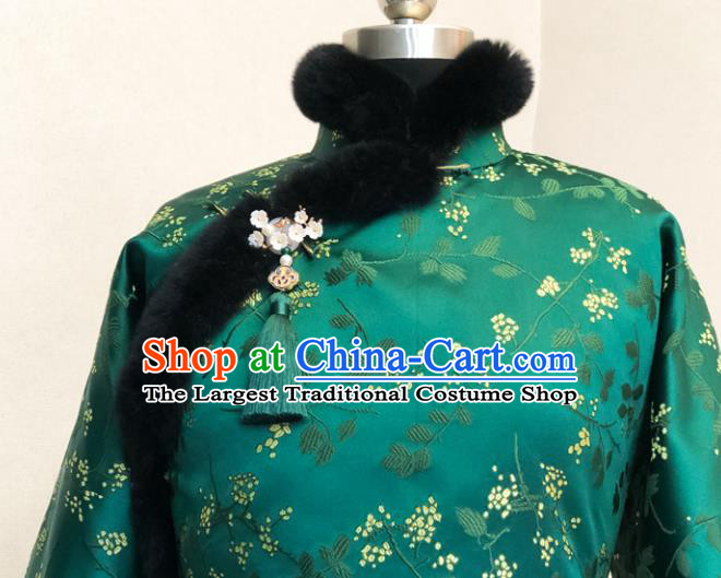 Chinese Traditional Winter Green Cotton Padded Jacket National Tang Suit Overcoat Costumes for Women