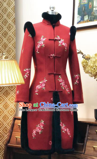 Chinese Traditional Winter Embroidered Red Cotton Padded Coat National Tang Suit Overcoat Costumes for Women
