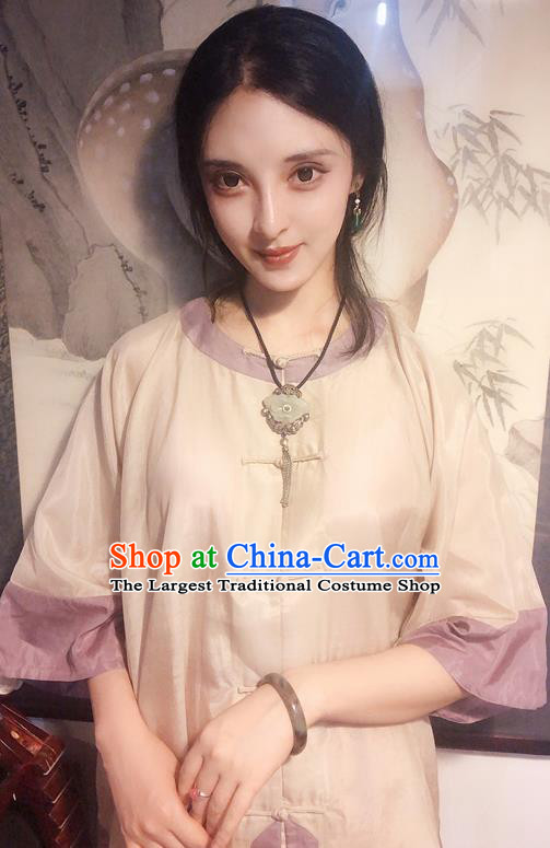 Chinese Traditional Beige Mandarin Shirt National Tang Suit Upper Outer Garment Blouse Costume for Women