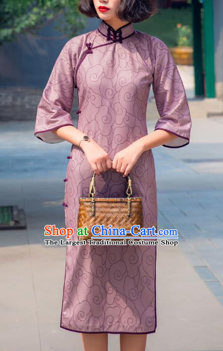 Chinese Traditional Lilac Flax Qipao Dress National Tang Suit Cheongsam Costumes for Women