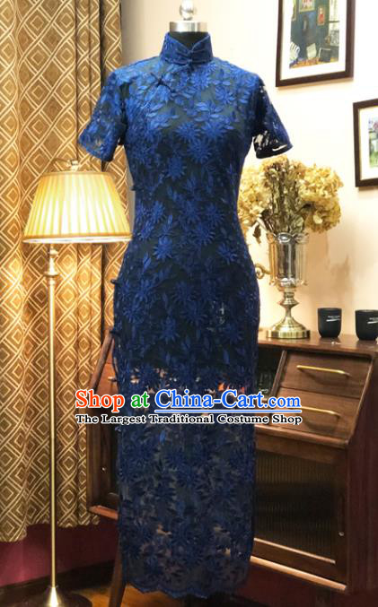 Chinese Traditional Embroidered Blue Lace Qipao Dress National Tang Suit Cheongsam Costumes for Women