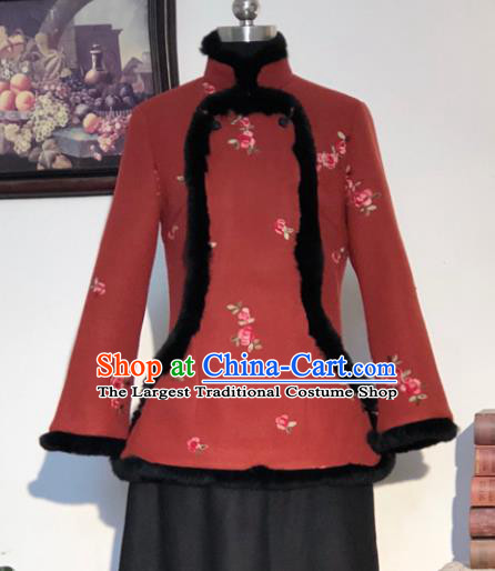 Chinese Traditional Winter Rust Red Woolen Coat National Tang Suit Overcoat Costumes for Women