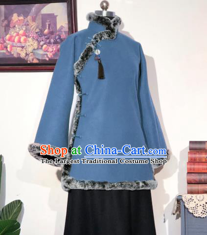 Chinese Traditional Winter Blue Woolen Coat National Tang Suit Overcoat Costumes for Women