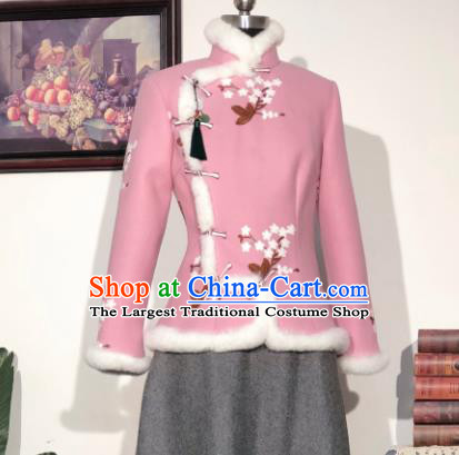 Chinese Traditional Winter Pink Woolen Coat National Tang Suit Overcoat Costumes for Women