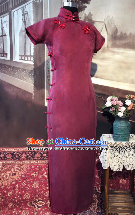 Chinese Traditional Wine Red Qipao Dress National Tang Suit Cheongsam Costumes for Women