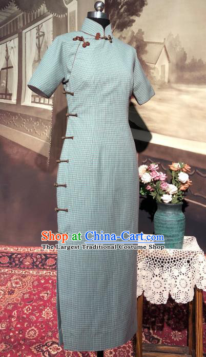 Chinese Traditional Green Flax Qipao Dress National Tang Suit Cheongsam Costumes for Women